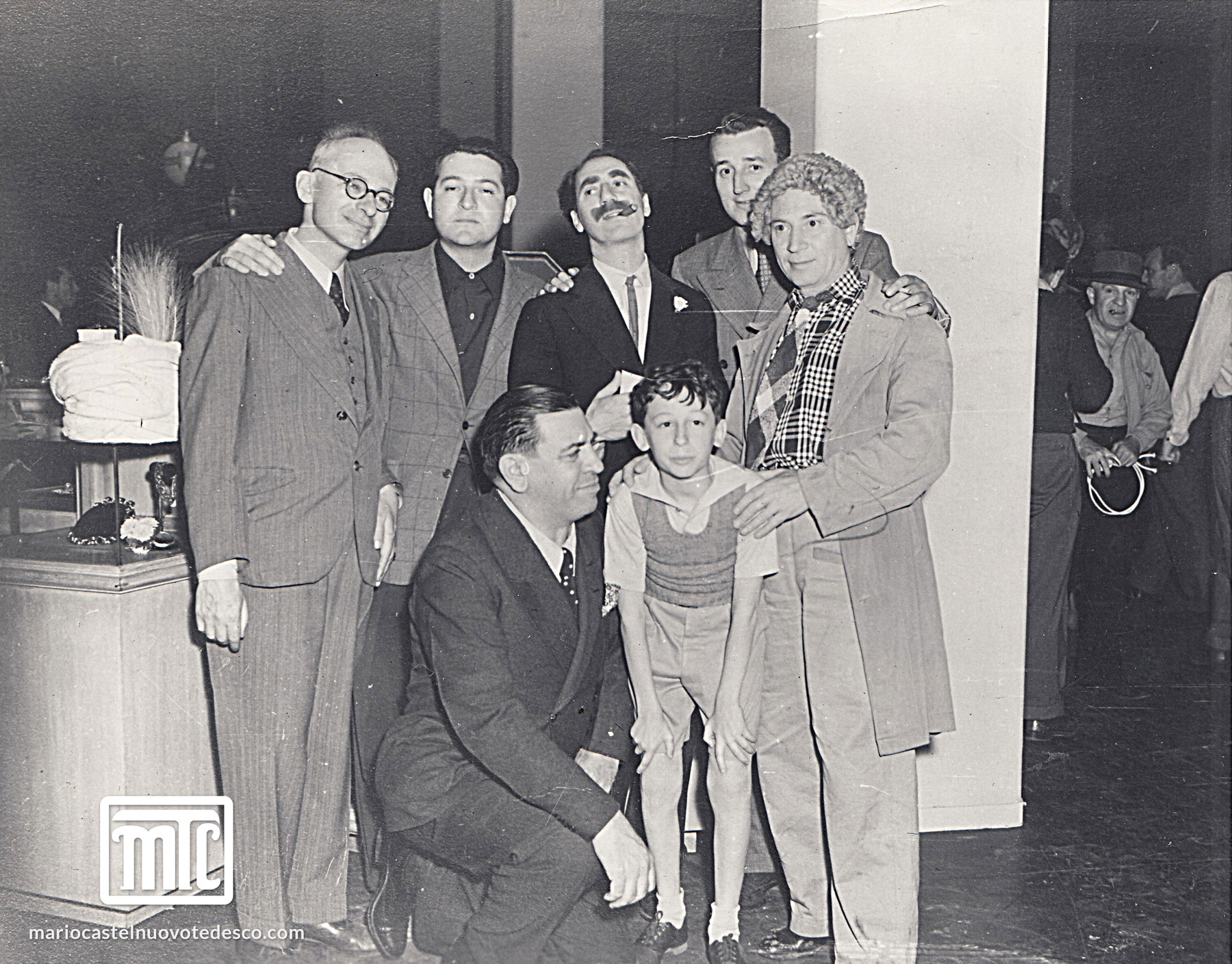 MCT at MGM with the Marx Brothers and his son Lorenzo, 1941