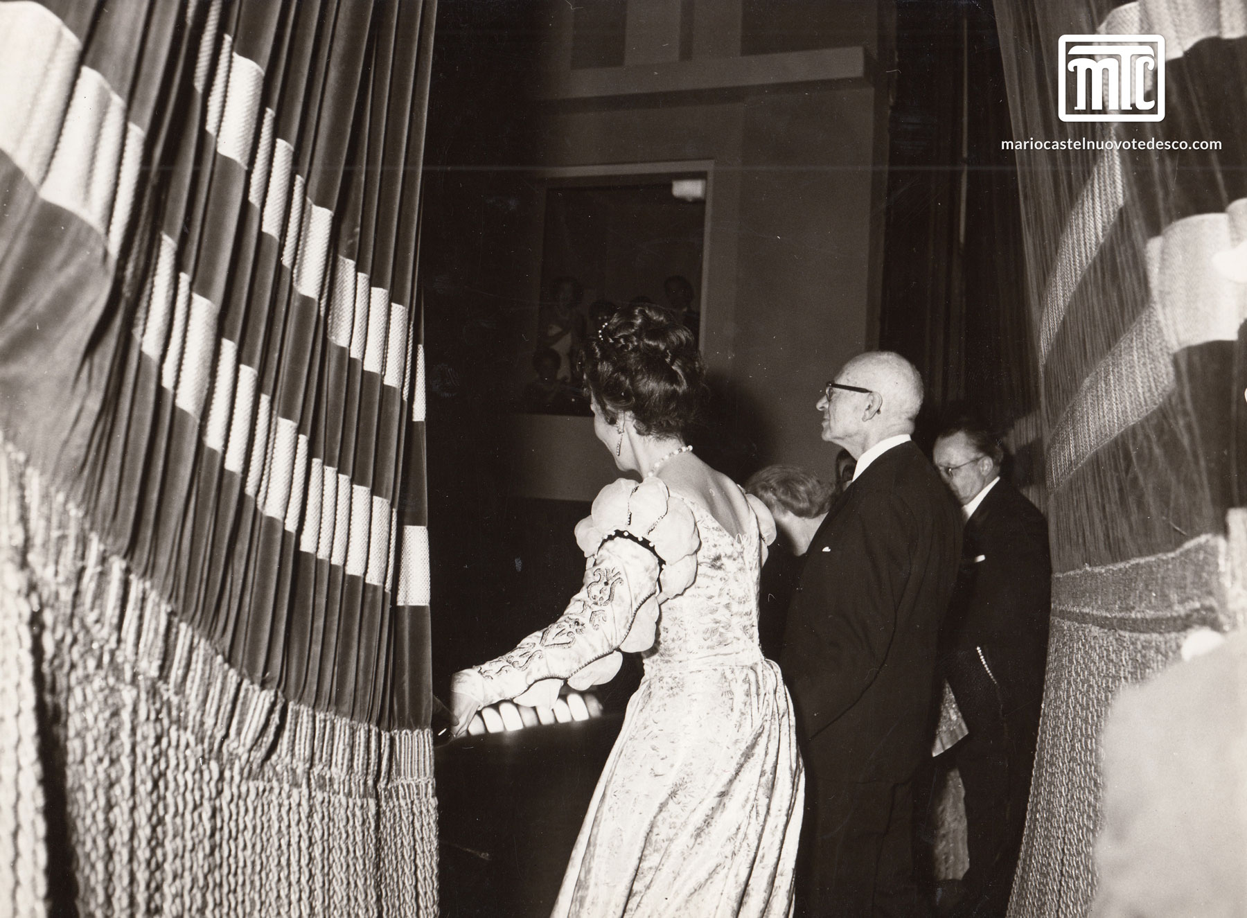 MCT at premiere of Merchant of Venice, Florence, 1961